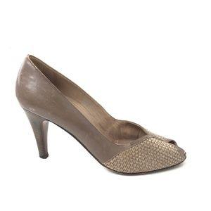 Vtg Bruno Magli Peep Toe Heel Pumps Shoes Italian